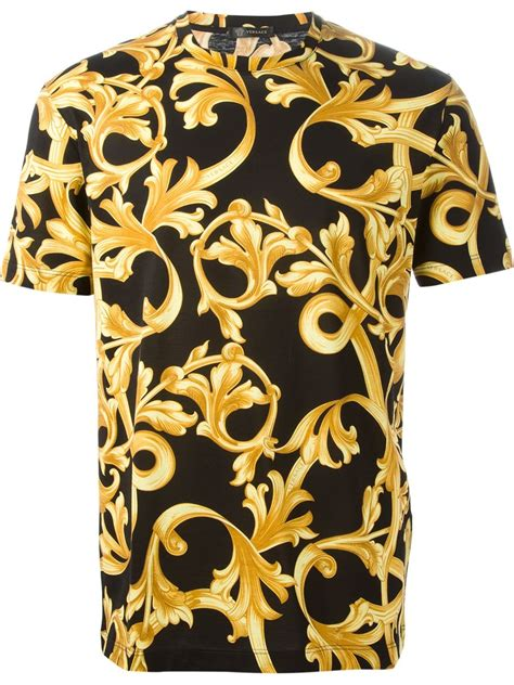 versace pattern t shirt versace baroque t shirt in black for men lyst