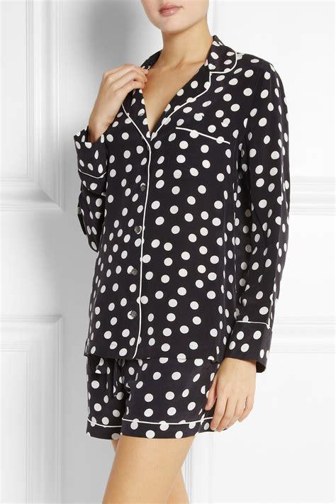 Set Dress Lilian Polka Babyterry equipment lillian polka dot washed silk pajama set in