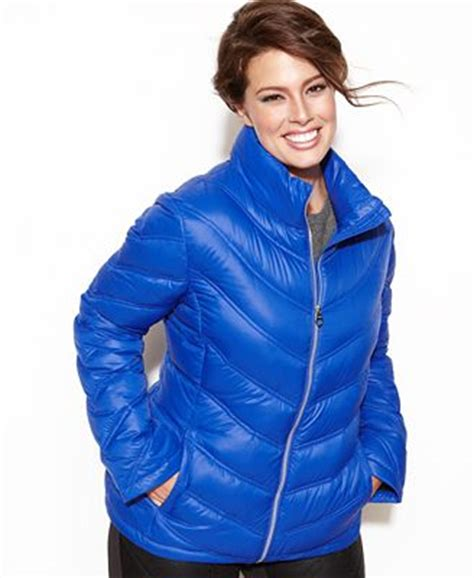 Calvin Klein Chevron Quilted Packable Puffer Coat by Calvin Klein Plus Size Chevron Quilted Packable Puffer