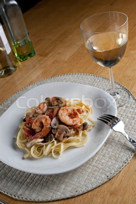 Dinner Spaghetti With Pinot Grigio Seafood by A Delicious Shrimp With Linguine Pasta Dish And A
