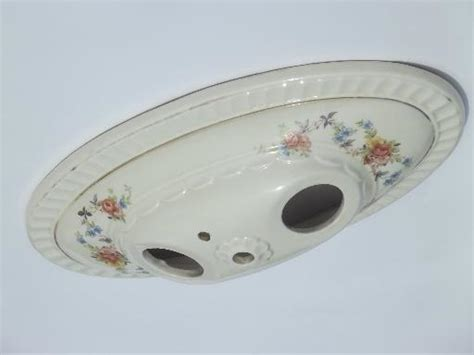 vintage porcelier flowered porcelain flush mount ceiling