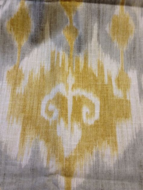 Textured Upholstery Fabric Ikat Tribal Print Grey Mustard Cream Amp Ivory Linen Fabric