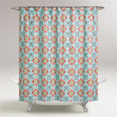 coral and turquoise shower curtain aqua and coral windward tile shower curtain world market