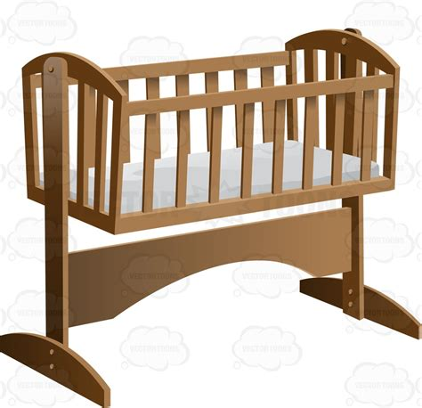 Crib Clipart by An Fashioned Rocking Baby Crib With Mattress Vector