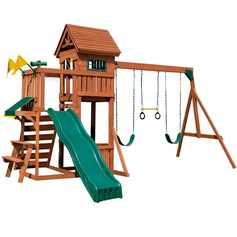 swing and playsets lifetime earthtone adventure tower playset 90440 the