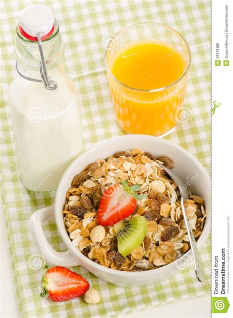 Tropical Muesli Cereal Healthy Food Healthy Breakfast healthy breakfast with muesli cereal with fruits berries nuts stock photo image 29729150