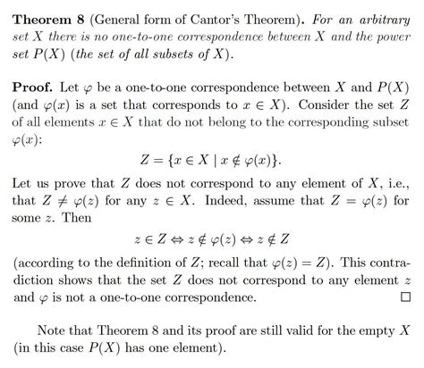 elementary set theory when is elementary set theory on the general form of the cantor