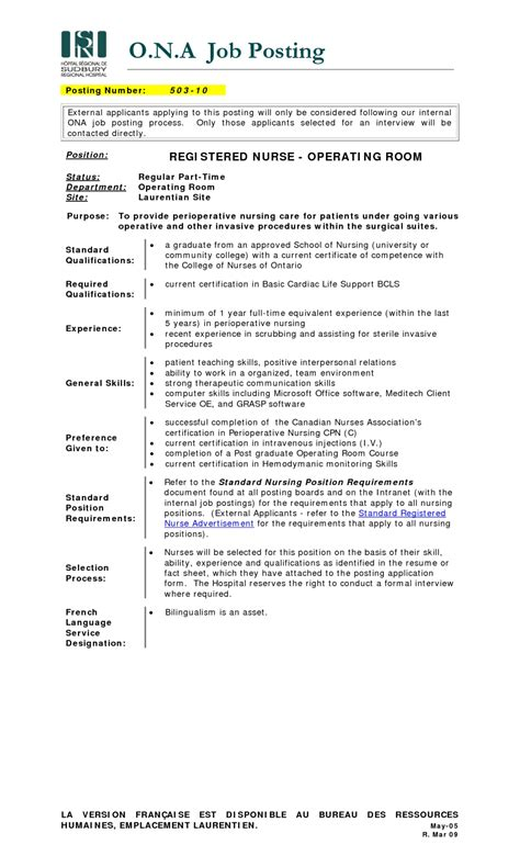 Operating Room Resume Objective Operating Room Resume Sle Resume Exles 2017