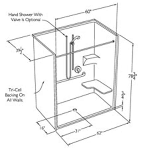 Standing Shower Dimensions by Comfort Designs