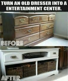 how to turn a dresser into an entertainment center how