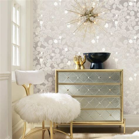 silver sparkle modern classic removable wallpaper kathy