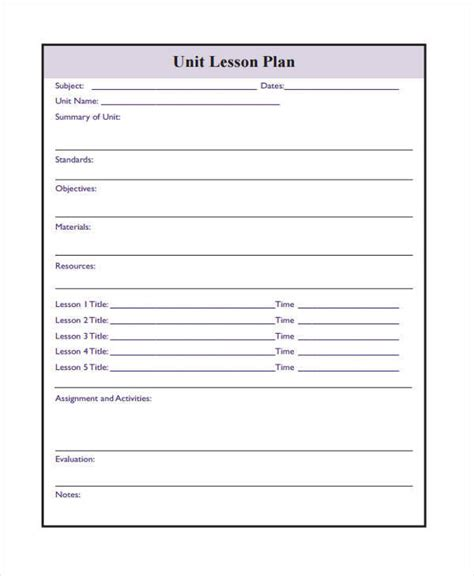 Printable Lesson Plan Templates by 17 Lesson Plan Sles