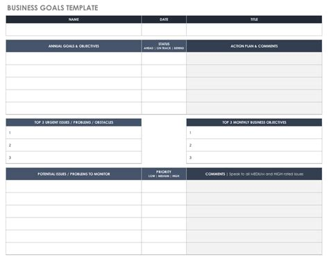 setting goals and objectives template free goal setting and tracking templates smartsheet