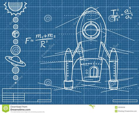 Floor Plan Free Download blueprint with spaceship and planets royalty free stock
