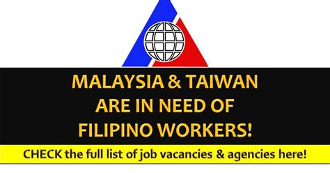 Online Job In Malaysia Work From Home - jobs opportunities for filipinos in malaysia and taiwan this january 2017
