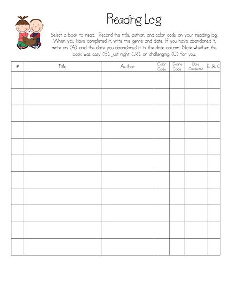 kindergarten reading log template reading log template cyberuse