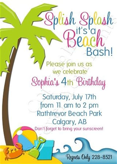 birthday themed words invitation wording birthdays and beach party on pinterest