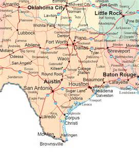 Texas Louisiana Map south central states road map