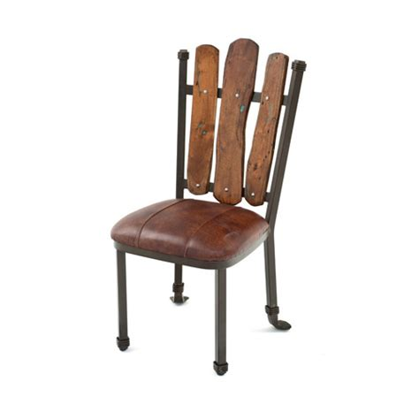 steel traditions scottsdale side chair with leather seat