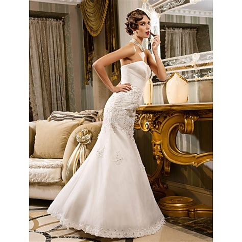 trumpetmermaid  sizes wedding dress ivory floor length strapless chiffonorganzacheap uk
