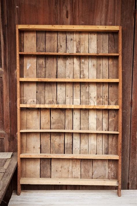 vintage wooden shelf stock photo colourbox