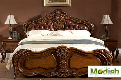 wood carving bed classic king size wood carving bed w leather headboard