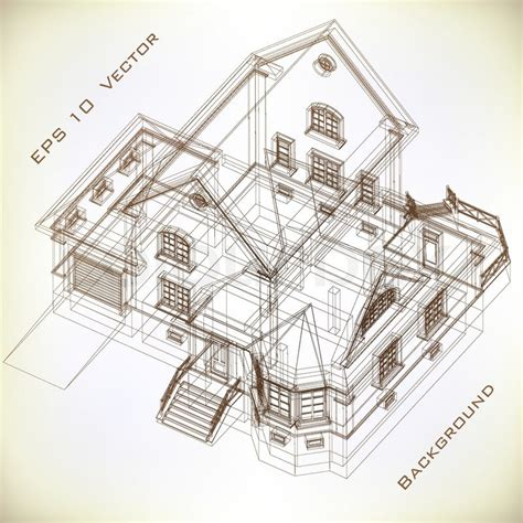 Architectural background with a 3D building model. Vector
