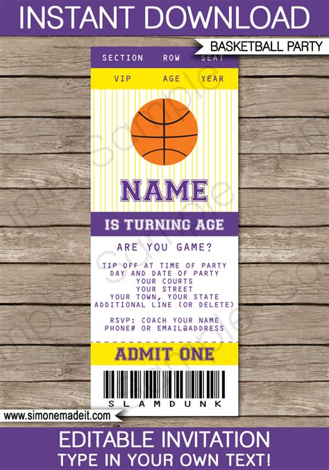 yellow and purple basketball party ticket invitation template