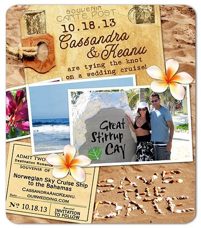 cruise wedding save the date announcement cruise wedding boats and language on