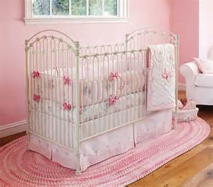 pink bedding for pretty baby nursery from