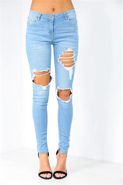 Knee Cut Ripped womens ripped knee cut out frayed fit
