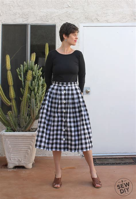 Pattern Pleated Skirt diy tutorial pleated button front skirt sew diy