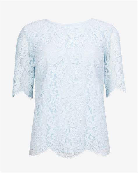 Blue Lace Edges S M L Blouse 45003 light blue lace blouse clothing