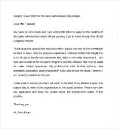 cover letter for sales administrator sle cover letter exles for sale 14 free
