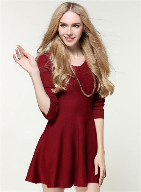 Sleeve A Line Mini Dress s fashion solid sleeve a line knit mini dress