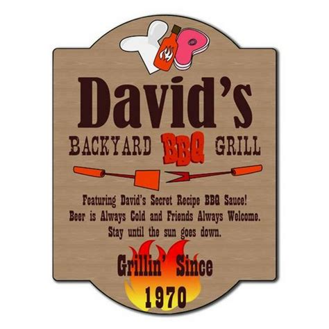 personalized backyard signs personalized backyard bbq grill sign customized barbecue