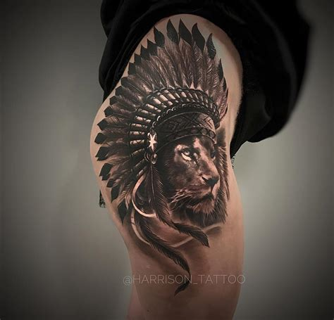 headdress tattoo hip ideas