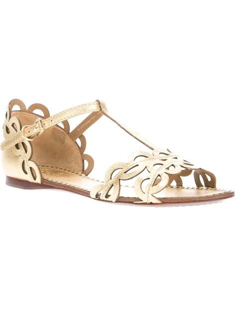 burch flat shoes price lyst burch aileen flat sandal in metallic