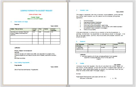 budget proposal format sle budget templates