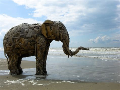 majestic driftwood elephant sculptures