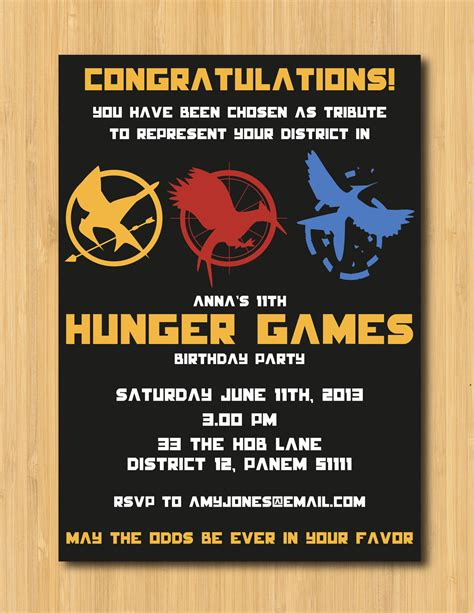 Printable Hunger Games Birthday Invitations | hunger games printable birthday party invitation