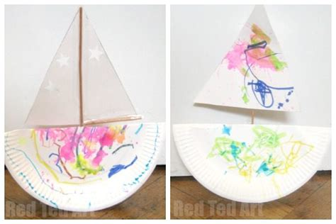 how to make a paper boat quickly rocking paper plate boat red ted art s blog