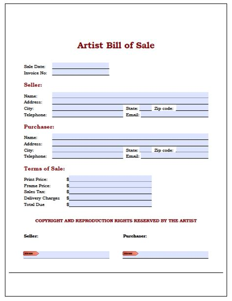 painting bill of sale form wikidownload