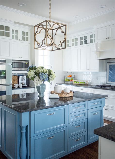 Blue Kitchen Island | beach inspired home with blue and white kitchen home