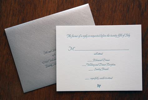 Wedding Invitations Rsvp Card In Envelope by Save The Date Paper Monkey Press
