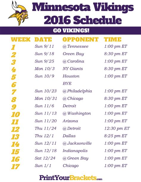 printable nfl schedule with channels printable vikings schedule party invitations ideas