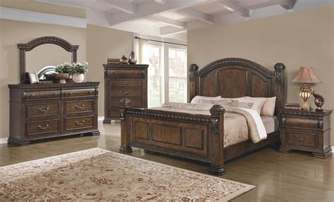 4 piece bedroom set 4 piece satterfield bedroom set warm bourbon finish usa