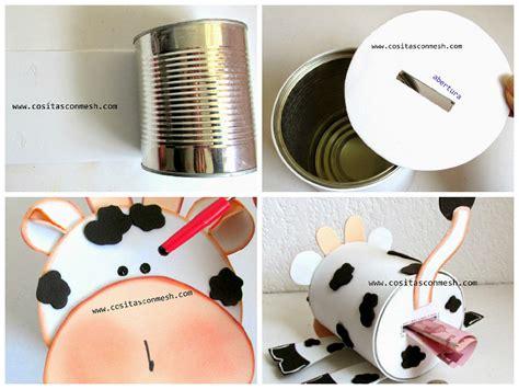 tarjetas en forma de taza manualidades reciclables una hucha diy de vaquita para ni 241 os con una lata reciclada