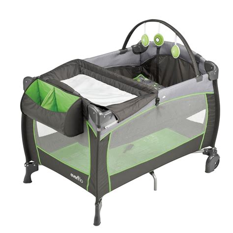 Playpen With Bassinet And Changing Table Evenflo Portable Baby Changing Table Bassinet Playpen Bar Pinwheel 514517 Ebay