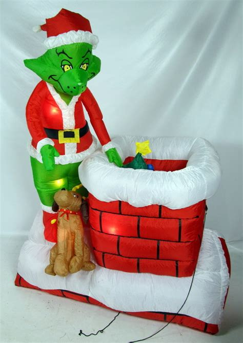 animation christmas yard decorations outdoor christmas decorations the home depot the grinch 6 ft animated airblown outdoor inflatable